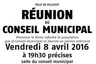 Conseil Municipal 8 avril 2016