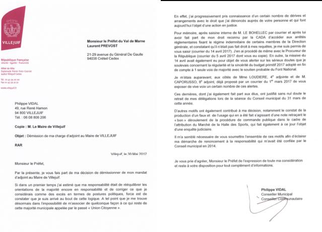 Lettre De Demission D Adjoint De Philippe Vidal Au Prefet Villejuif Notre Ville